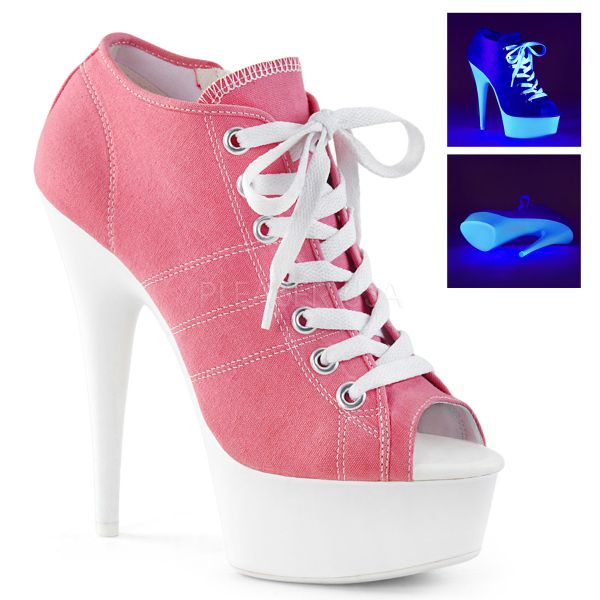 Pinke Canvas High Heel Peep Toe Sneaker DELIGHT-600SK-01